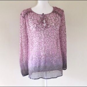 Lucky Brand Purple Sheer Blouse